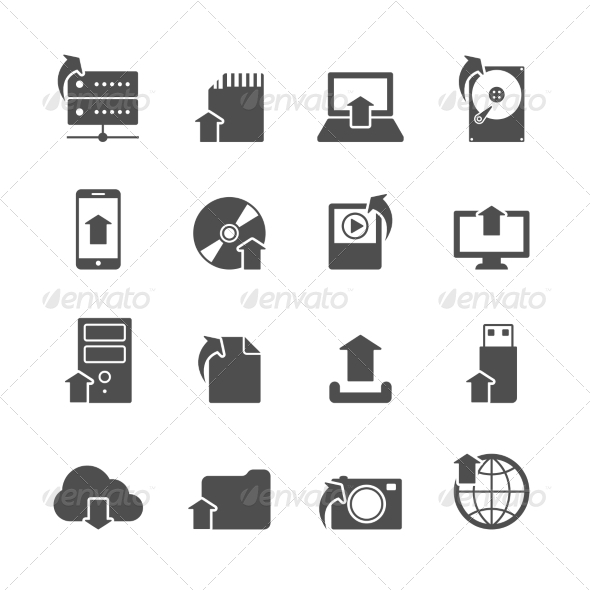 GraphicRiver Internet Upload Symbols Icons Set 7323335