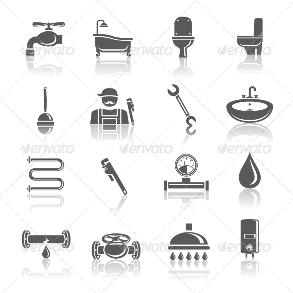 GraphicRiver Plumbing Tools Pictograms Icons 7323340