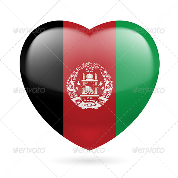 GraphicRiver Heart Icon of Afghanistan 7323402