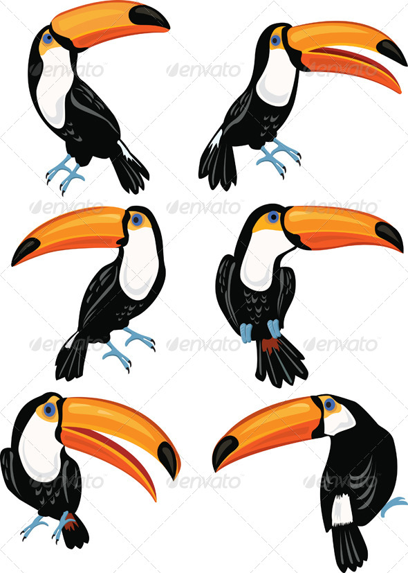 GraphicRiver Set of Toucans 7323427