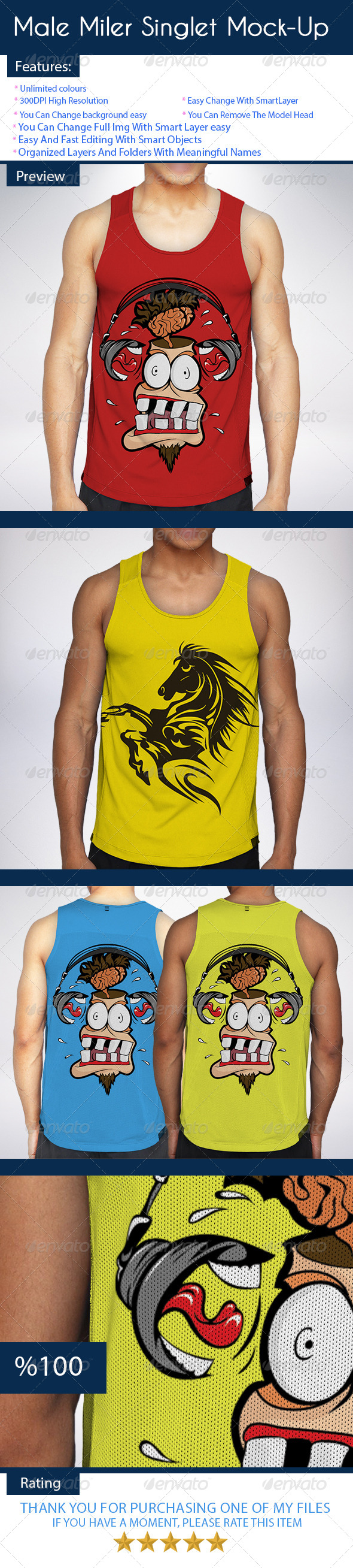 GraphicRiver Male Miler Singlet Mock-Up 7323582