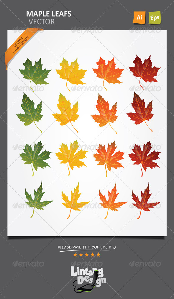 GraphicRiver Maple Leaves Vector-001 7323591