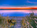 Long Exposure Image of Blue and Orange Sunset over Jetty on the - PhotoDune Item for Sale