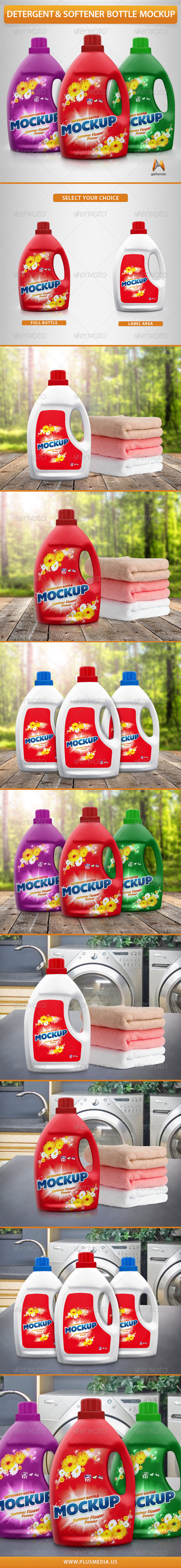 GraphicRiver Detergent & Softener Bottle Mockup 7324610