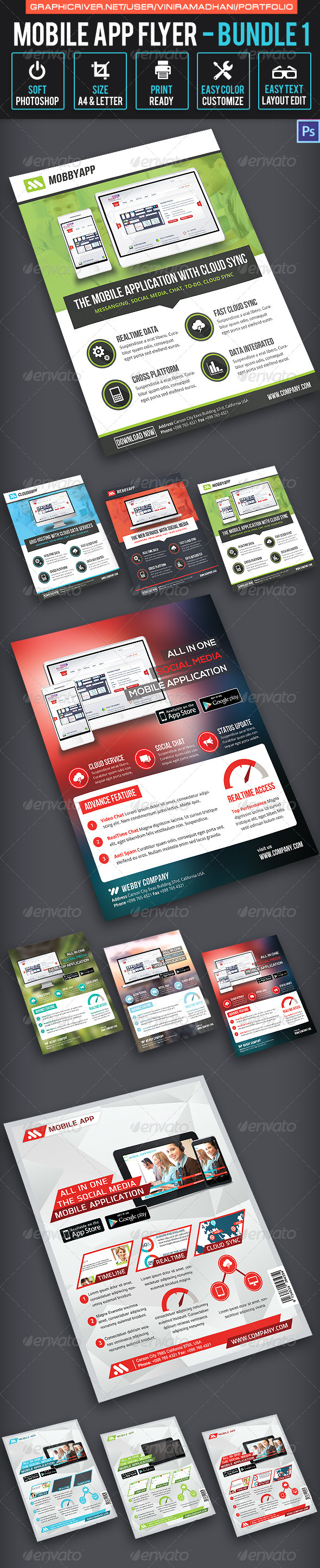 GraphicRiver Mobile App Flyer Bundle 1 7325667