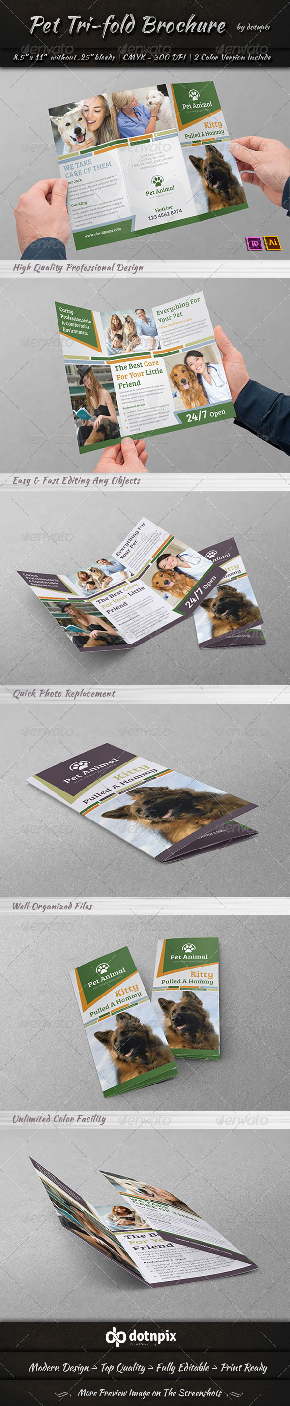 GraphicRiver Pet Tri-Fold Brochure 7326006