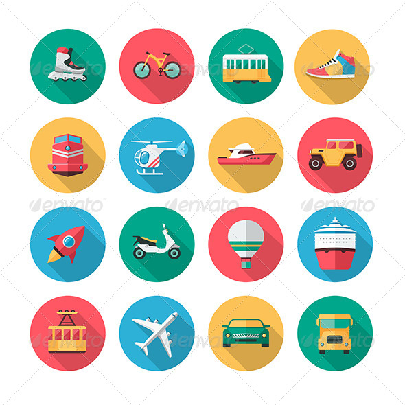 GraphicRiver 16 Vector Transport Icons in Flat Style 7326040
