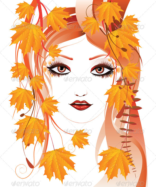 GraphicRiver Autumn Floral Girl 7326401