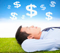 businessman  thinking money and goal on a meadow - PhotoDune Item for Sale
