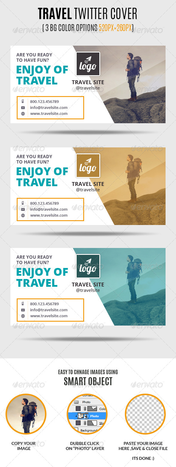 GraphicRiver Travel Twitter Covers 7326612