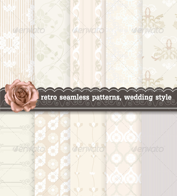 GraphicRiver Retro Seamless Patterns Wedding Style 7326726