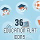 36 Education Flat Icons - GraphicRiver Item for Sale