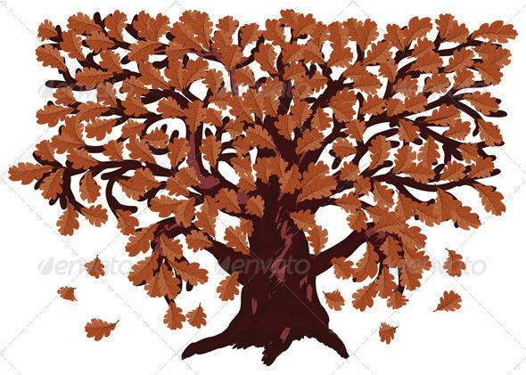 GraphicRiver Autumn Oak Tree 7326887