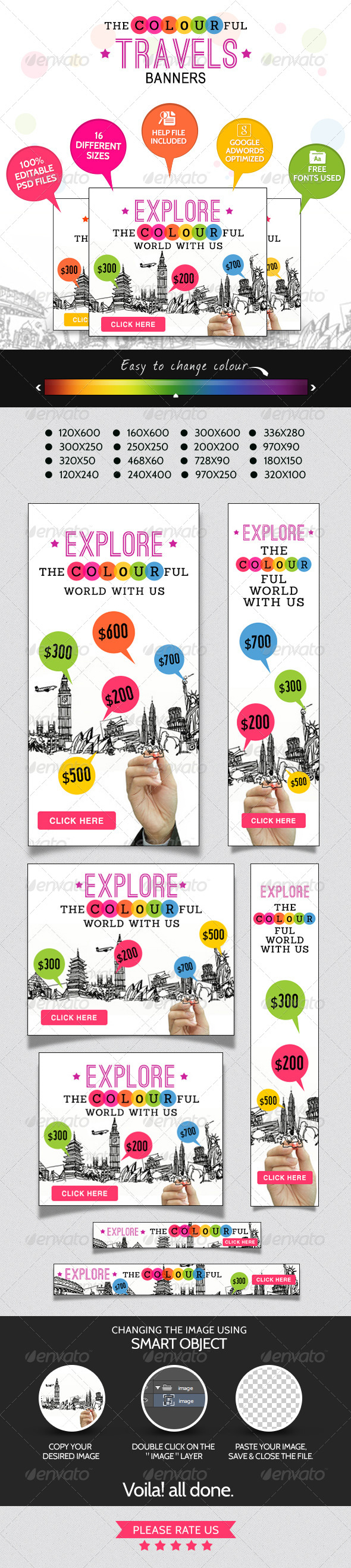 GraphicRiver Colourful Travel Banner Set 7326934