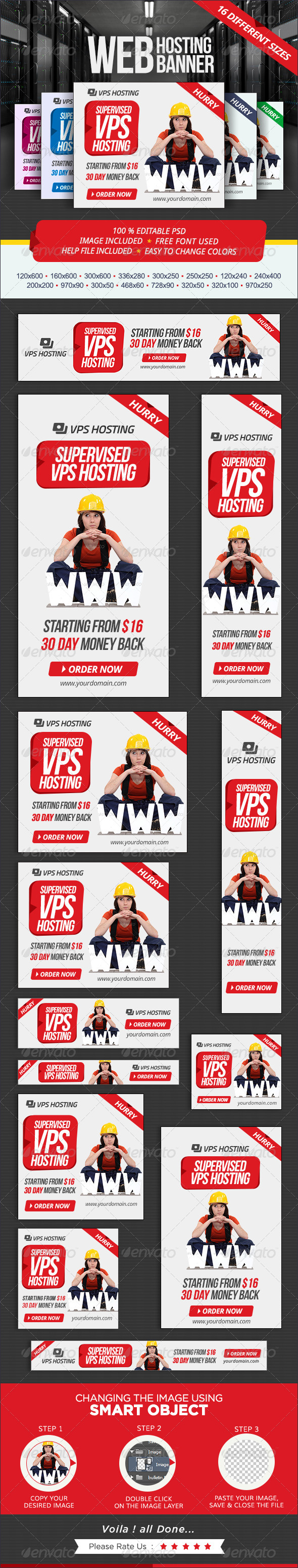 GraphicRiver Web Hosting Banner set 7326942