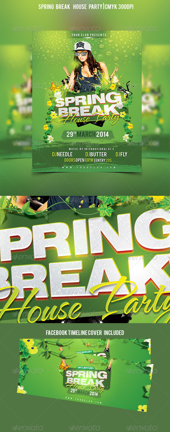 GraphicRiver Spring Break House Party 7327800