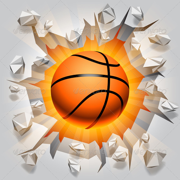 GraphicRiver Basketball Ball and Cracked Wall 7327921