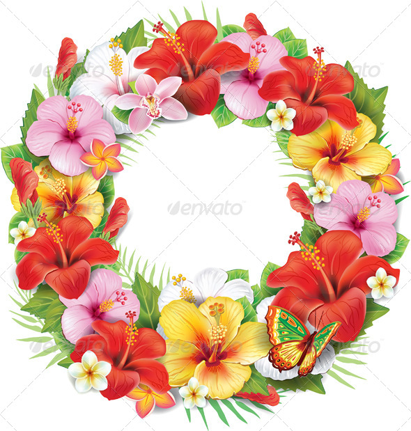 GraphicRiver Wreath of Tropical Flower 7328361