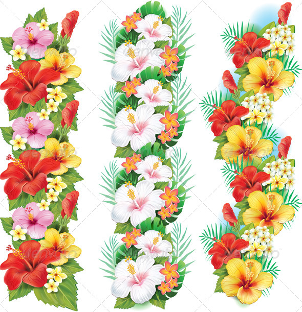 GraphicRiver Garland of Hibiscus Flowers 7328377