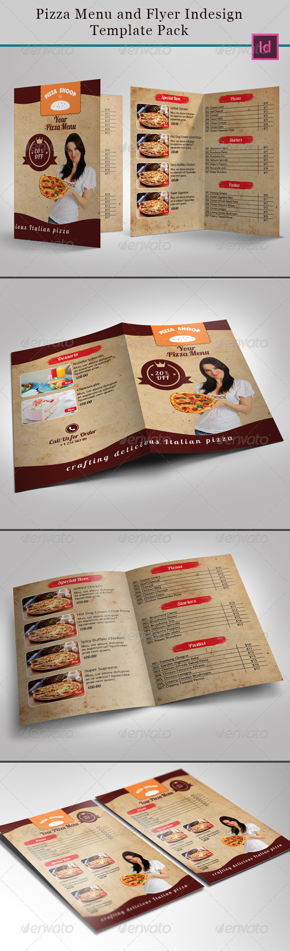 GraphicRiver Pizza Menu and Flyer Indesign Template Pack 7328387