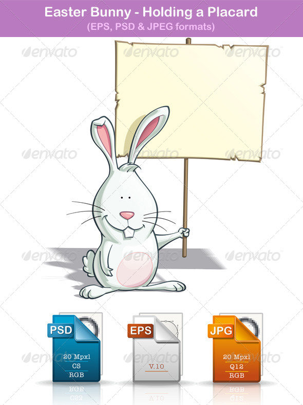 GraphicRiver Easter Bunny Holding a Placard 7330025