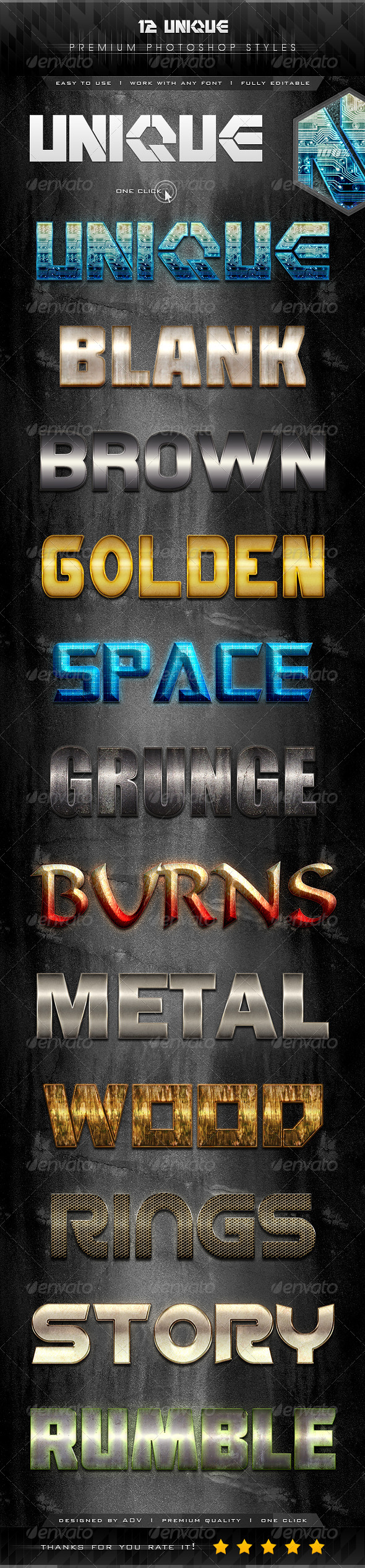 GraphicRiver 12 Unique Text Effect Styles 7330490