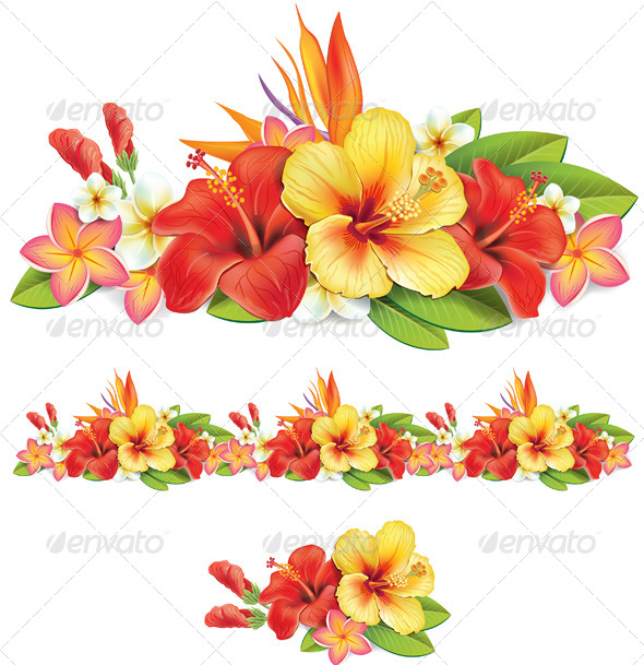 GraphicRiver Garland of Tropical Flowers 7331565