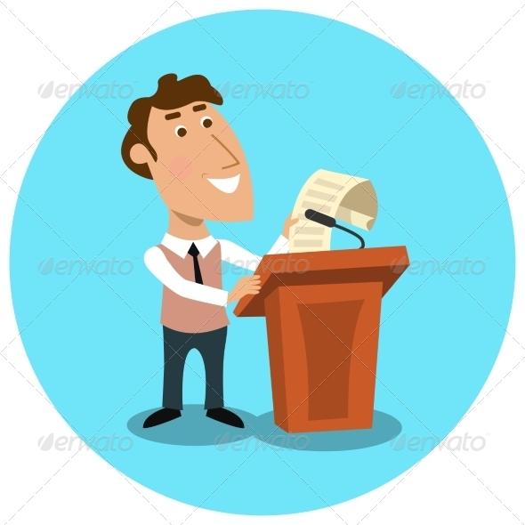GraphicRiver Business Manager Making Public Presentation 7332058