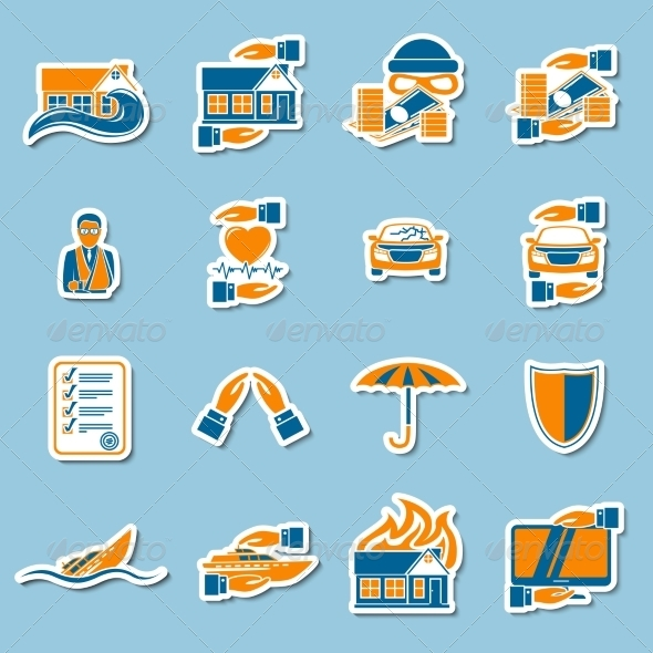 GraphicRiver Insurance Security Stickers Collection 7332109