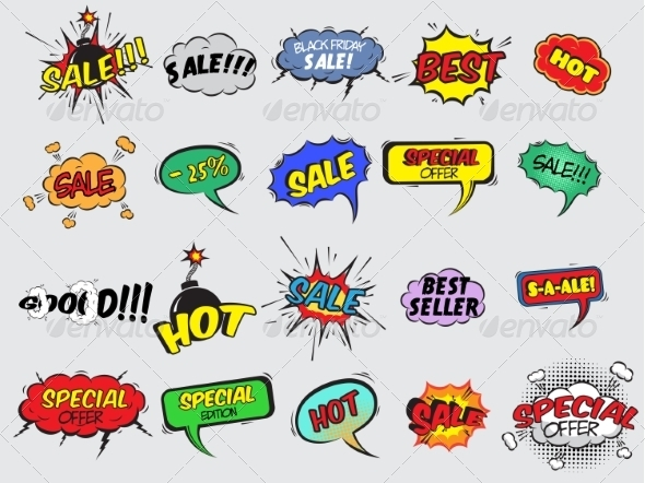 GraphicRiver Comic Sale Explosion Icons 7332117
