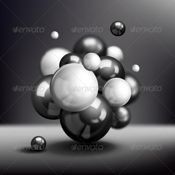 GraphicRiver Dark 3D Spheres Molecule Poster 7332173