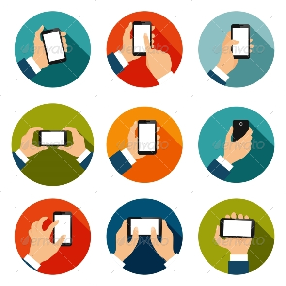 GraphicRiver Hands with Phones Icons Set 7332250