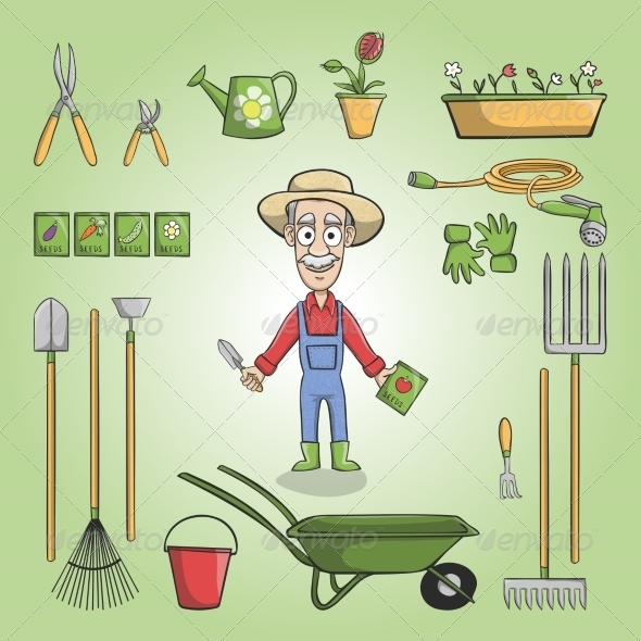 GraphicRiver Happy Gardener Charactor Set 7332254