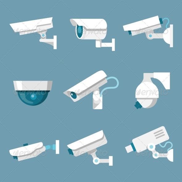GraphicRiver Security Cameras Icons Set 7332264