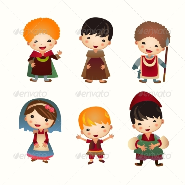 GraphicRiver Cartoon Medieval People Icon Set 7332272