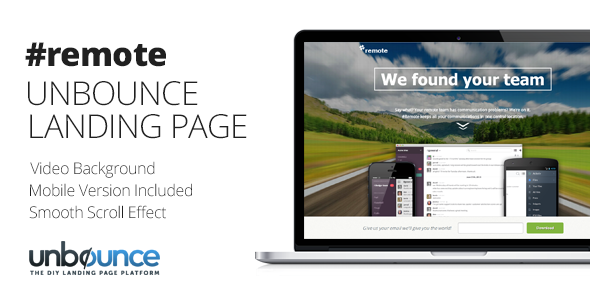 ThemeForest Remote Unbounce Landing Page Template 7332312