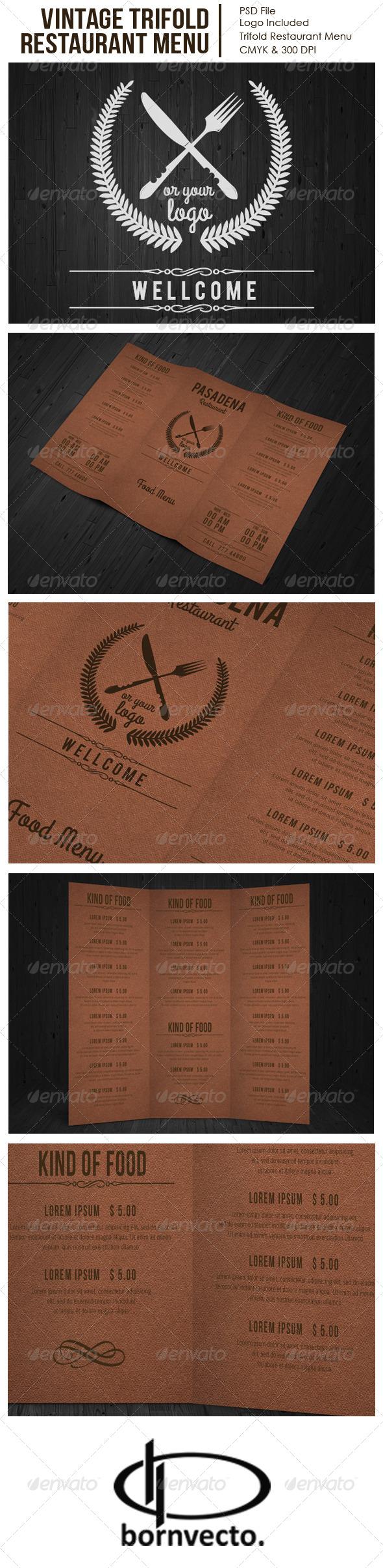GraphicRiver Vintage Trifold Restaurant Menu 7294538