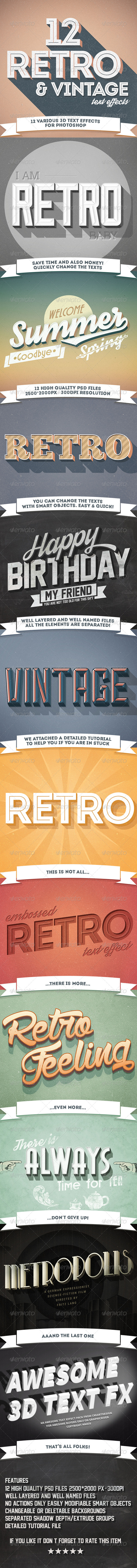 GraphicRiver 12 Various 3D Retro & Vintage Text Effects Pack 7332894