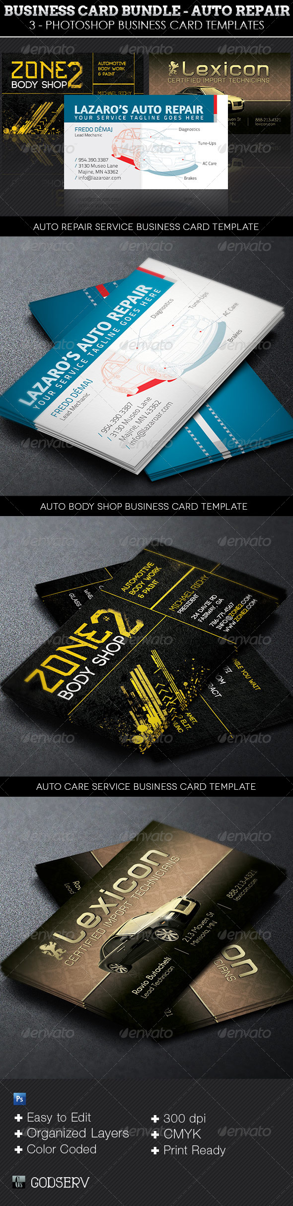 GraphicRiver Auto Repair Business Card Template Bundle 7333677