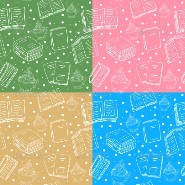 GraphicRiver Set of seamless book and tea backgrounds 7334705