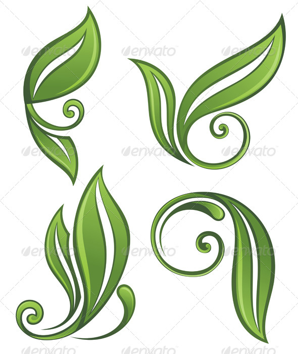 GraphicRiver Green Leaves Set 7335298