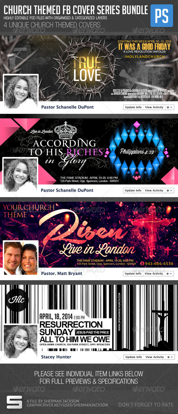 GraphicRiver Church Christian Themed FB Cover Bundle 4in1 7335312