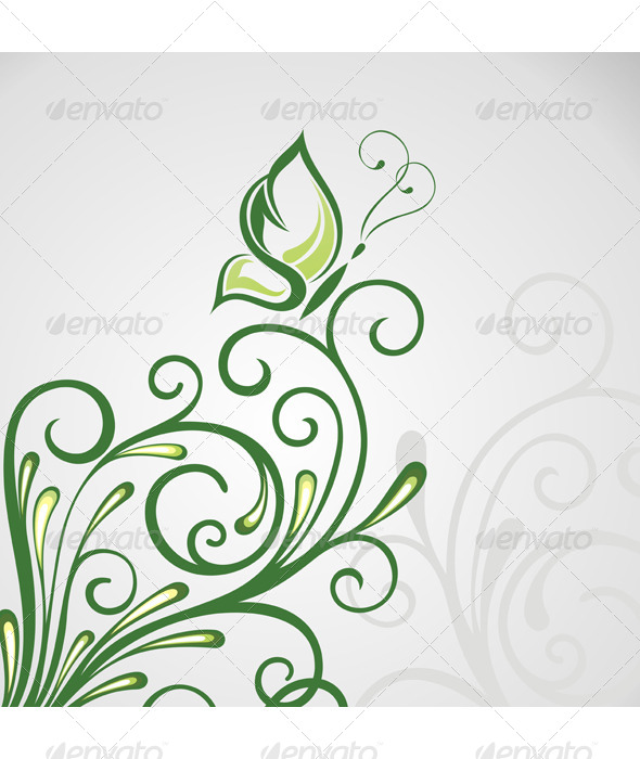 GraphicRiver Abstract Floral Background with Butterfly 7335500