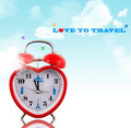 Love to travel! Heart clock with landmarks and sky - PhotoDune Item for Sale