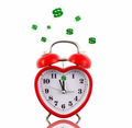 Red heart alarm clock with dollar signs ringing isolated - PhotoDune Item for Sale