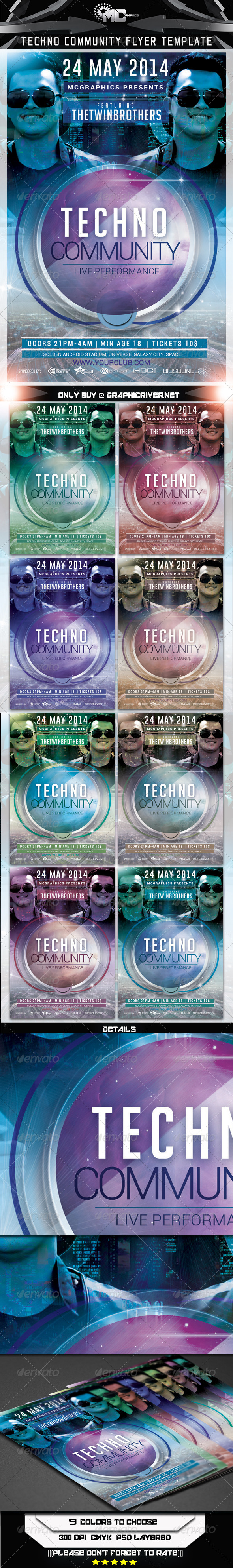 GraphicRiver Techno Community Flyer Template 7335967