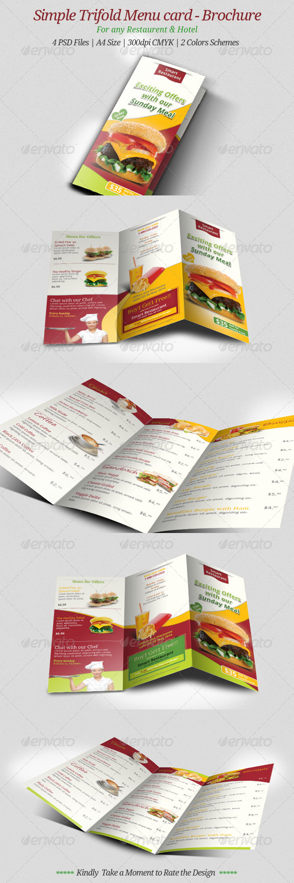 GraphicRiver Simple Trifold Menu Card Brochure 7133373
