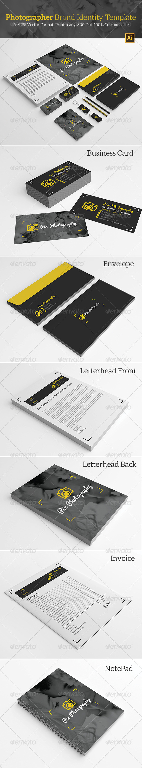 GraphicRiver Photographer Brand Identity Template 7333367