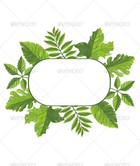 GraphicRiver Frame with Green Leaves 7336408