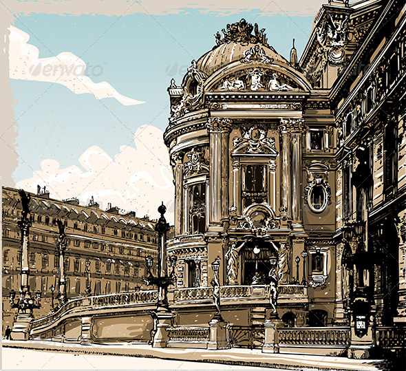 GraphicRiver Vintage Hand Drawn View of Opera in Paris 7336847